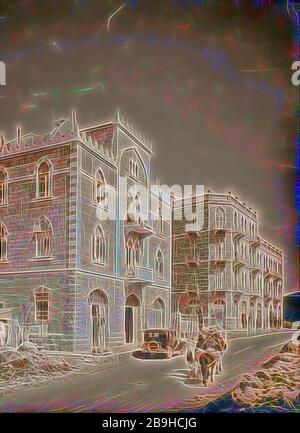 Newer Jerusalem and suburbs Jaffa Road. Apartment houses built by Arabs. 1920, Jerusalem, Israel - Stock Photo