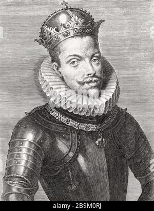 King Philip III of Spain and as Philip II, King of Portugal, 1578 - 1621.  Felipe III in Spanish.  Filipe II, in Portuguese.  Nicknamed the Pious.  After a 17th century engraving. - Stock Photo