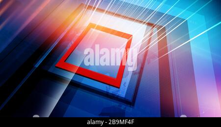 Modern studio space with big flat screens and directional growing lines, suitable for breaking news background. 3d Illustration - Stock Photo