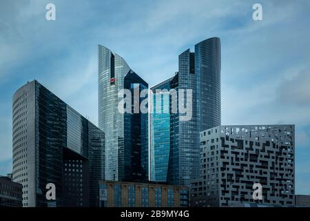 Detail of facades of the modern buildings located in the financial district of La Défense, Paris. - Stock Photo