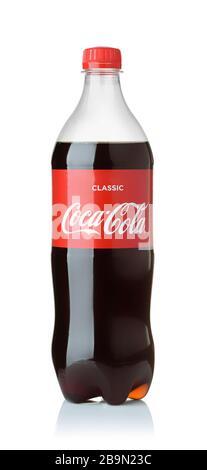 Samara, Russia - November 2019. Product shot of one liter classic Coca-Cola plastic bottle isolated on white - Stock Photo