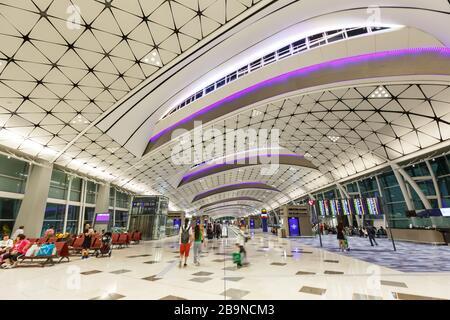 Hong Kong, China – September 20, 2019: Midfield Concourse Terminal of Hong Kong airport (HKG) in China.