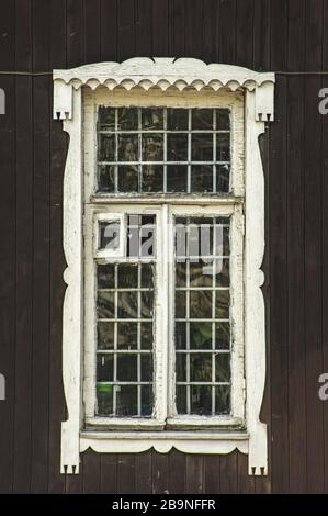 An old wood door panel with glass white paint and grunge, Full Frame - Stock Photo