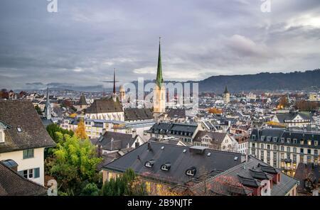 Aerial View of Zurich's Historic City Center after Sunset - Zurich, Switzerland (Autumn/ Fall) - Stock Photo