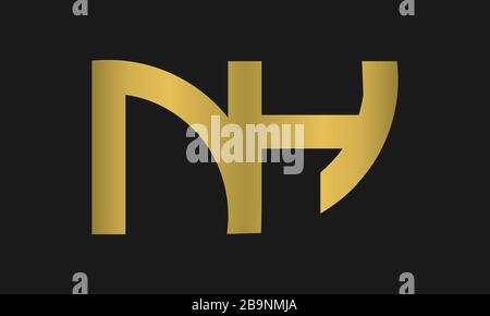 HN, NH Letter Logo Design with Creative Modern Trendy Typography and monogram logo. - Stock Photo