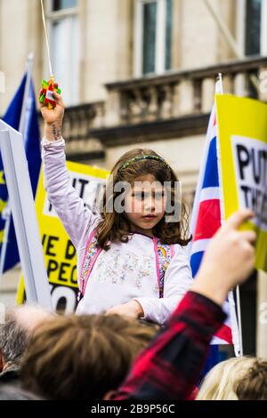 Brexit protest march in London on 23/03/2019. 'Put It To The People' campaign say more than a million people joined the march. - Stock Photo
