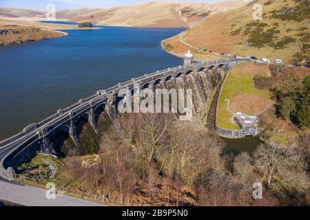 Aerial view of Craig goch elan valley on a bright sunny day in march 2020 winter - Stock Photo