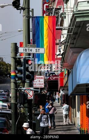Street scene: everyday life in the Castro District, San Francisco, California, United States, North America, color - Stock Photo