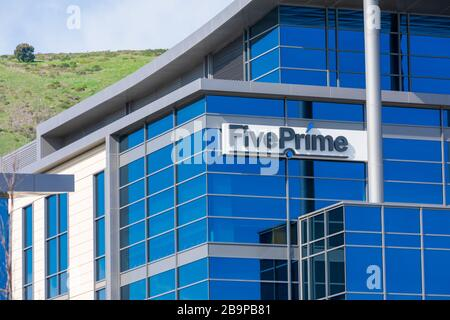 Five Prime Therapeutics sign at biopharmaceutical company headquarters in Silicon Valley - South San Francisco, California, USA - 2020 - Stock Photo