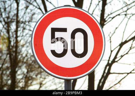 german speed limit sign 50 kmh - Stock Photo