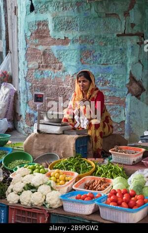 Vegetable market Navchokiya Old City Jodhpur Rajasthan India