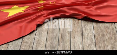 China flag. Chinese sign symbol placed on wooden table background. China nation, language, culture concept, copy space, template mockup. 3d illustrati - Stock Photo
