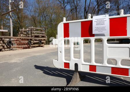 Playground, barrier, sign of playground closed due to corona virus, forbidden to enter, Germany, Europe
