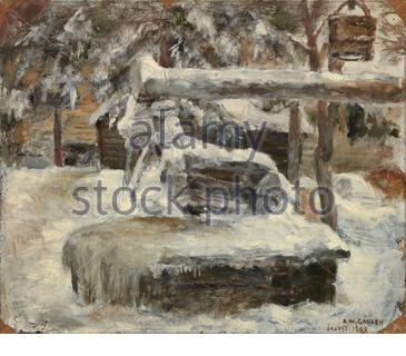 'Finnish:  Luminen pihamaaSnowy Courtyardtitle QS:P1476,fi:Luminen pihamaa label QS:Lfi,Luminen pihamaa label QS:Len,Snowy Courtyard; 1882; ' - Stock Photo
