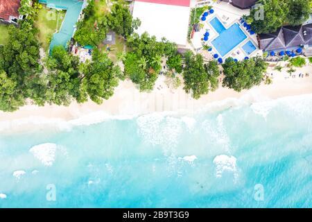 Beach Seychelles Mahé Mahe island luxury villa vacation paradise sea ocean drone view aerial photo photography - Stock Photo