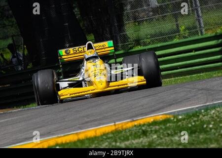 Pierluigi Martini driving his own Minardi M189 during Historic Minardi Day in Imola. Great old school feeling. - Stock Photo