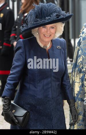 (200325) -- LONDON, March 25, 2020 (Xinhua) -- File photo taken on March 9, 2020 shows Camilla, Duchess of Cornwall, arriving for the annual Commonwealth Service at Westminster Abbey on Commonwealth Day in London, Britain. Britain's Prince Charles has tested positive for COVID-19 and is showing mild symptoms, the Clarence House announced Wednesday.The 71-year-old Prince of Wales displayed mild symptoms 'but otherwise remains in good health,' said a spokesman of Clarence House, the official residence of Charles and his wife Duchess of Cornwall Camilla who has tested negative. (Photo by Ray Tang - Stock Photo