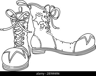 Clown's Shoes, hand drawn outline vector illustration - Stock Photo