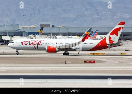 Las Vegas, Nevada – April 9, 2019: Air Canada Rouge Boeing 767-300ER airplane at Las Vegas airport (LAS) in Nevada. Boeing is an American aircraft man - Stock Photo