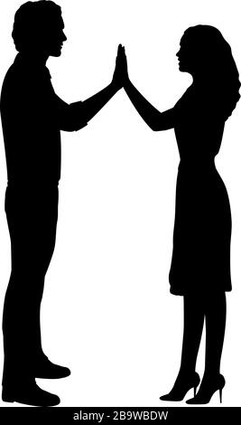 Silhouettes of lovers men and women holding hands - Stock Photo