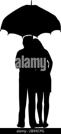 Silhouette of two lovers man and woman stand under umbrella - Stock Photo
