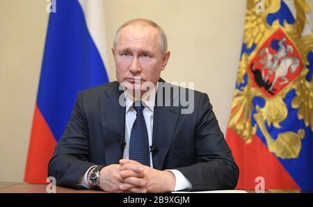 March 25, 2020. - Russia, Moscow Region, Novo-Ogaryovo. - Russian President Vladimir Putin addresses Russian citizens on the COVID-19 coronavirus situation. - Stock Photo