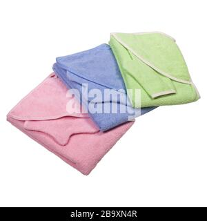 Stack of clean soft clothes isolated on white background - Stock Photo