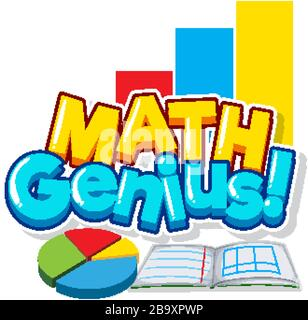Font design for math genius with book piechart illustration - Stock Photo