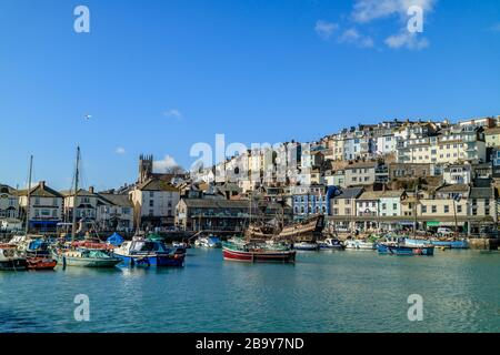 Brixham harbour with fishing and leisure boats on a clear sunny day. Brixham, Devon, UK. March 2018. - Stock Photo
