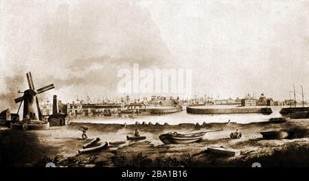 Hartlepool, (UK) docks in Victorian times - Stock Photo