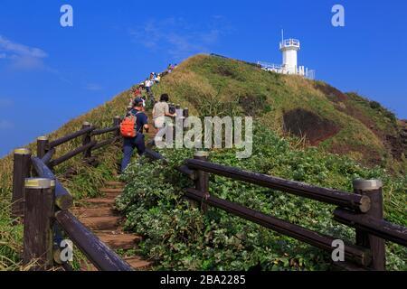 Pangdupo Lighthouse, Seopjikoji Cape, Jeju Island, South Korea, Asia - Stock Photo