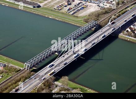 24 March 2020, Baden-Wuerttemberg, Karlsruhe: Aerial view, taken from an airplane, of the Rhine bridge Karlsruhe. Photo: Uli Deck/dpa - Stock Photo