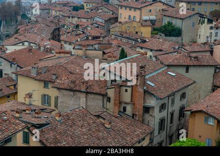 roofs of ancient village of Bergamo - Stock Photo