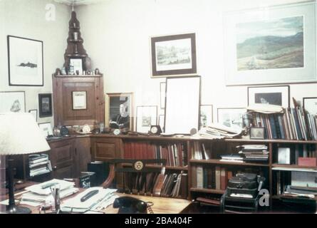 Vintage 1970s photograph, the office of David McCord at Harvard University. David Thompson Watson McCord (1897-1997) was an American poet and college fundraiser. SOURCE: ORIGINAL PHOTOGRAPH - Stock Photo