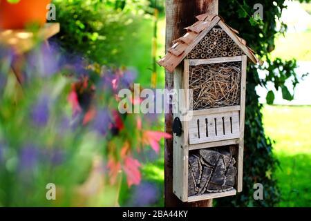 Home made bug house in a garden. - Stock Photo