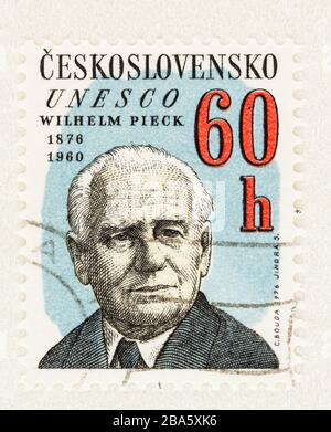 SEATTLE WASHINGTON - March 25, 2020: Close up of Czechoslovakia UNESCO postage stamp featuring President of DDR Wilhelm Pieck, issued in 1976