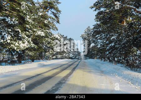 Winter snowy road through the forest - Stock Photo