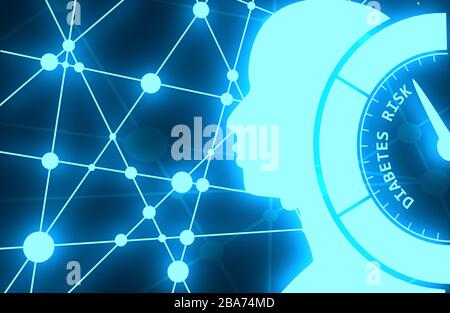 Medical background. Diabetes risk level. Abstract scale. Infographic gauge element. Head of man silhouette. Connected lines with dots. 3D rendering. N - Stock Photo