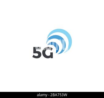 Abstract signal icon, blue arc. 5g mobile logo template, flat concept logotype design for new generation of connection in mobile technology. Vector - Stock Photo