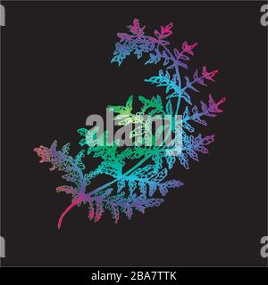 Color neon gradient fern illustration. Ancient plant. Stock Photo