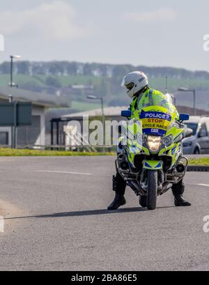 Pocklington, East Yorkshire, UK, 05/03/2018 - Policeman on motor bike at the Tour de Yorkshire - Stock Photo