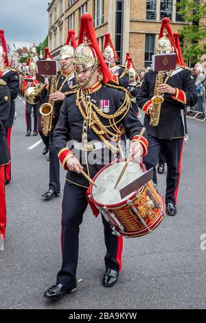 Side drummer of the Household Cavalry band during the Household Cavalry farewell to Windsor parade through Windosr, Berkshire, UK - May 18th 2019 - Stock Photo