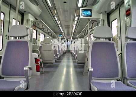 Barcelona, Spain - March 18 2020: Empty public transport train because of Coronavirus COVID-19 pandemic