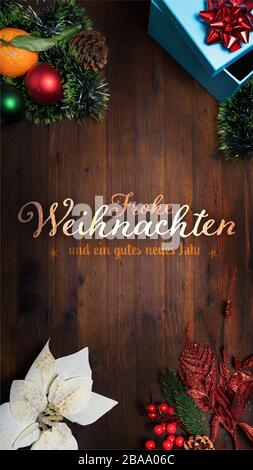 Wooden Background With German Calligraphy Frohe Ostern ...