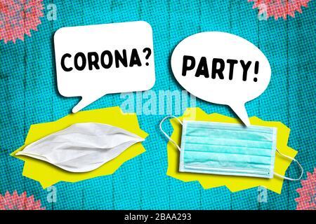 PHOTOMONTAGE, mask with speech bubbles, subject Corona parties, FOTOMONTAGE, Mundschutz mit Sprechblasen, Thema Corona-Partys