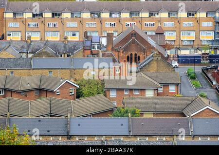 Aerial view of back to back terraced housing in London, UK