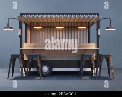 Trailer food truck Mockup, vintage hot dog market - Stock Photo