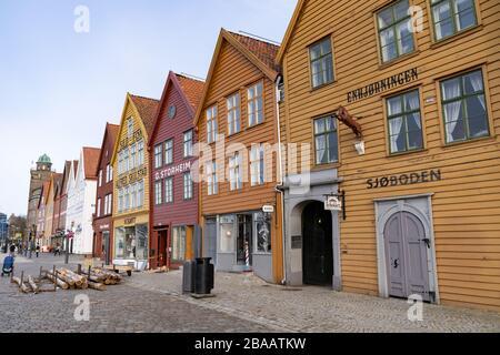 Bergen, Norway. Facades of buildings in Bryggen - Hanseatic wharf. Historic  buildings are a UNESCO World Heritage Site.
