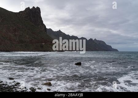Tenerife, Canary Islands, Spain. Western coast view from Roque de las Bodegas, Anaga rural park - Stock Photo