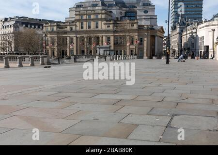 London - England - Trafalgar Square - 21032020 - Empty streets as Corona Virus hits London forcing many business to close or provide reduced service - Photographer : Brian Duffy - Stock Photo
